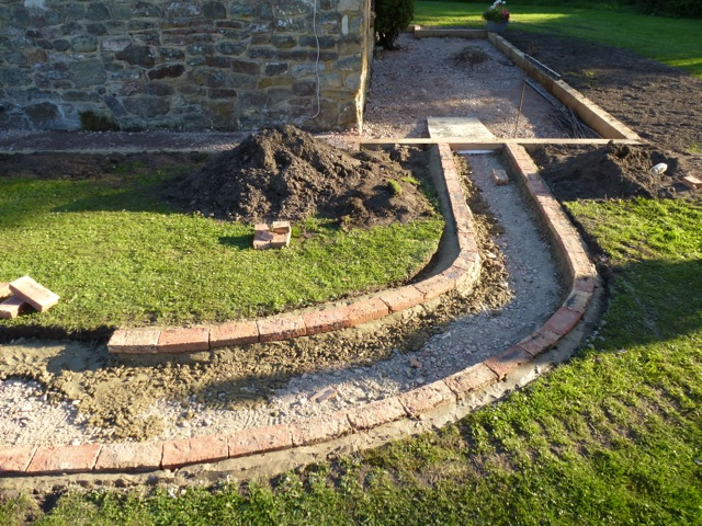 Laying the path and brickwork