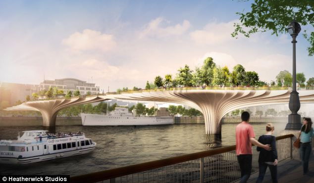 Plans for a new 'garden bridge' across the Thames in London, designed by Thomas Heatherwick. Photo courtesy Heatherwick Studios and Daily Mail.