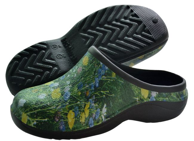 Meadow pattern backdoor shoes